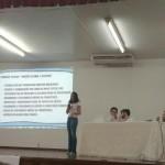 Acadêmica do 7º perído, Maria Rosanna Almeida, ministrando sobre o Conselho Tutelar.